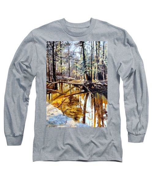 Long Sleeve T-Shirt featuring the painting  Lubianka-2-river by Henryk Gorecki
