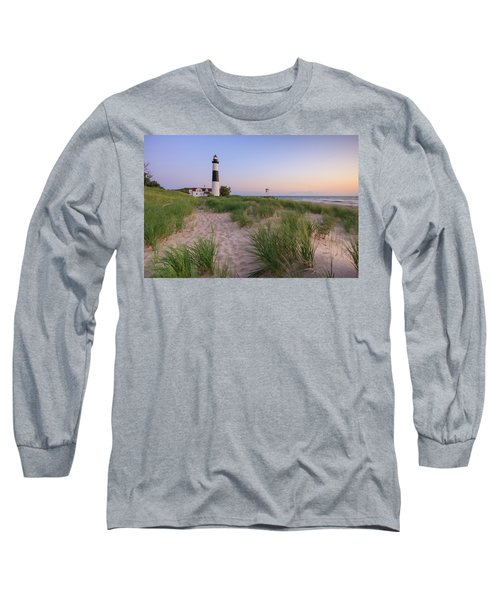 Long Sleeve T-Shirt featuring the photograph Ludington Beach And Big Sable Point Lighthouse by Adam Romanowicz