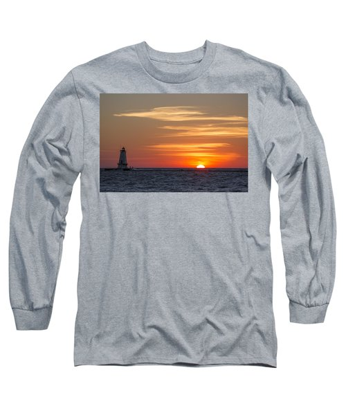 Long Sleeve T-Shirt featuring the photograph Ludington North Breakwater Light At Sunset by Adam Romanowicz