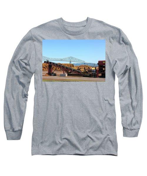 Lumber Mill Machinery In Rainier Oregon Long Sleeve T-Shirt