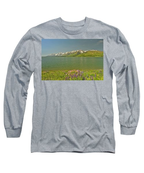 Lupines In The Tetons Long Sleeve T-Shirt