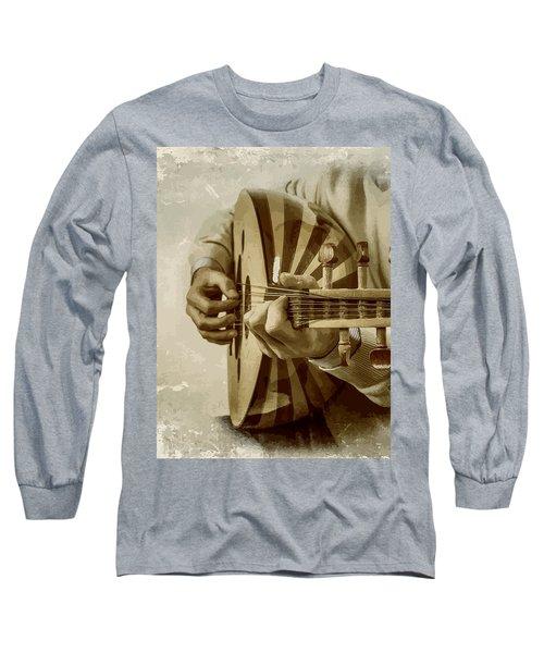 Grey Lutenist Long Sleeve T-Shirt by Moustafa Al Hatter