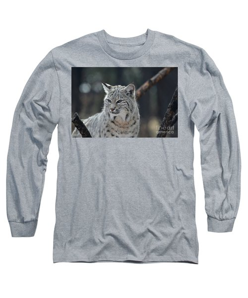 Lynx With A Very Unhappy Face Long Sleeve T-Shirt by DejaVu Designs