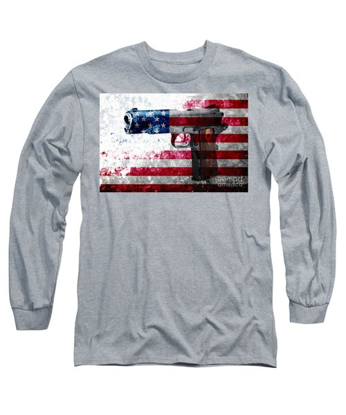 M1911 Colt 45 And American Flag On Distressed Metal Sheet Long Sleeve T-Shirt by M L C