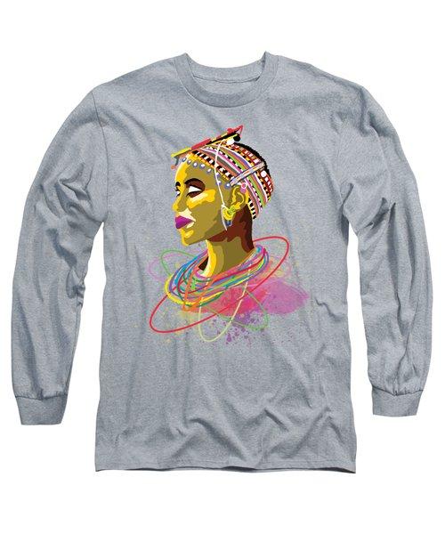 Long Sleeve T-Shirt featuring the painting Maasai Beauty by Anthony Mwangi