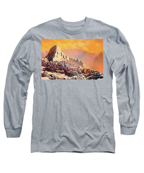 Long Sleeve T-Shirt featuring the painting Machu Picchu Sunset by Ryan Fox