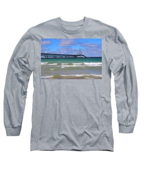 Mackinac Bridge Long Sleeve T-Shirt by Michael Rucker
