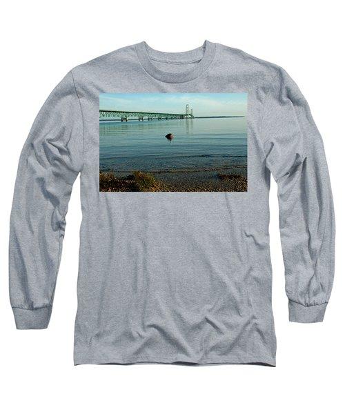 Long Sleeve T-Shirt featuring the photograph Mackinac Bridge Michigan by LeeAnn McLaneGoetz McLaneGoetzStudioLLCcom