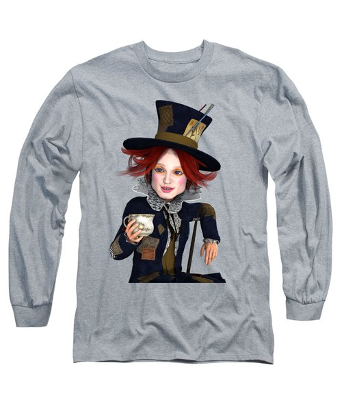 Mad Hatter Portrait Long Sleeve T-Shirt by Methune Hively