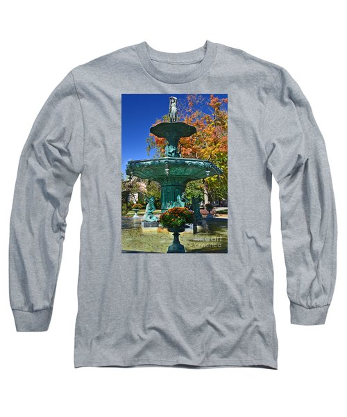 Madison Water Fountain In Fall Long Sleeve T-Shirt