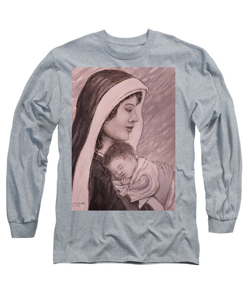 Madonna And Child In Black And White Long Sleeve T-Shirt by Kathleen McDermott