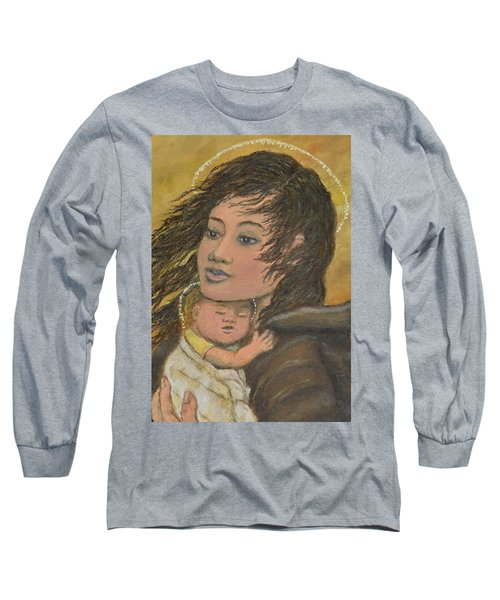 Madonna Of The Prairie Wind Long Sleeve T-Shirt by Kathleen McDermott
