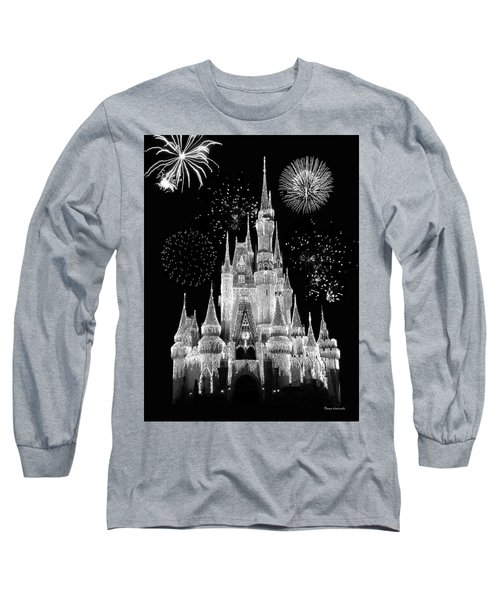 Magic Kingdom Castle In Black And White With Fireworks Walt Disney World Mp Long Sleeve T-Shirt by Thomas Woolworth