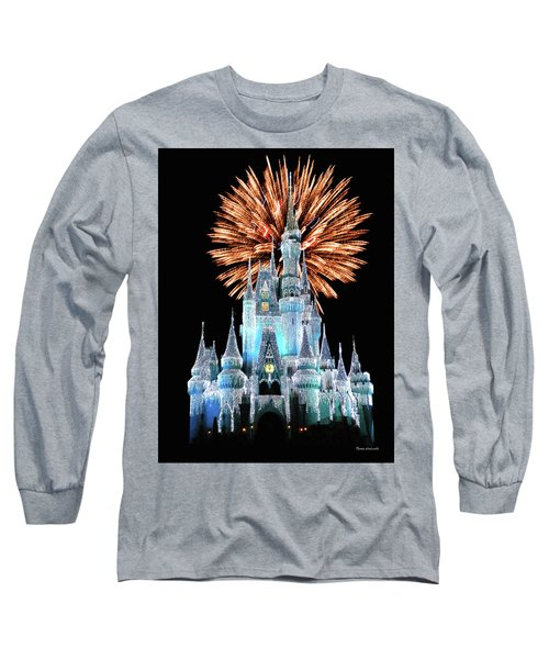 Magic Kingdom Castle In Frosty Light Blue With Fireworks 02 Mp Long Sleeve T-Shirt by Thomas Woolworth