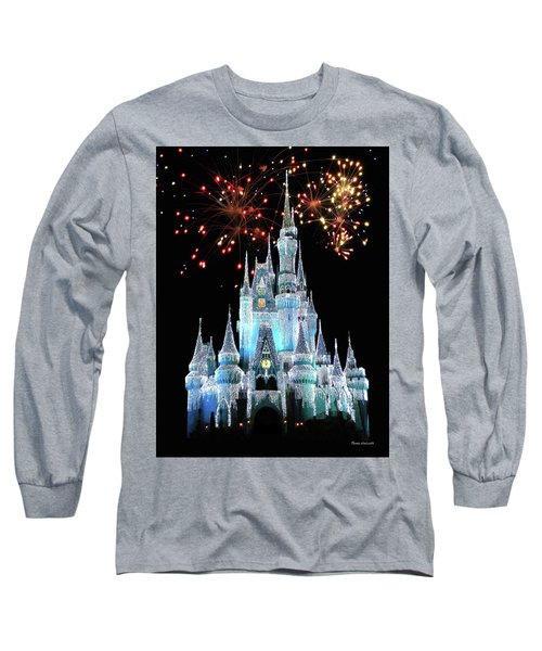Magic Kingdom Castle In Frosty Light Blue With Fireworks 03 Mp Long Sleeve T-Shirt by Thomas Woolworth