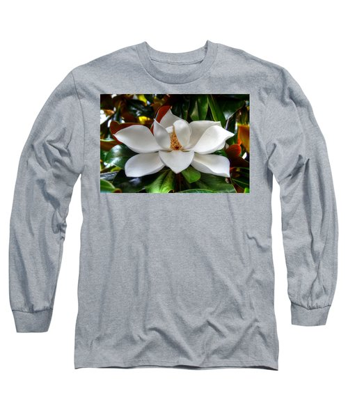 Magnolia Bloom Long Sleeve T-Shirt by Ronda Ryan