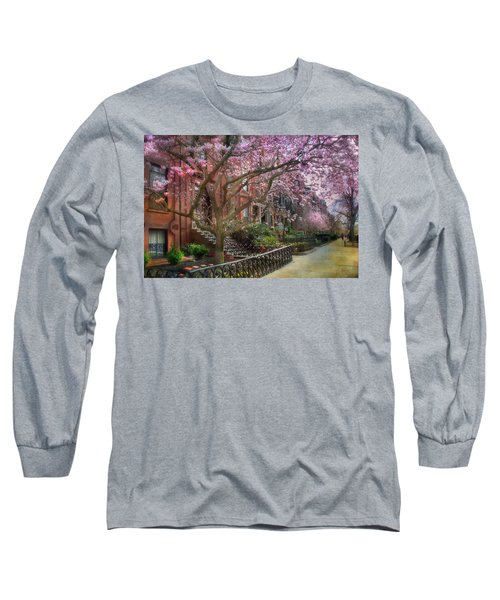 Long Sleeve T-Shirt featuring the photograph Magnolia Trees In Spring - Back Bay Boston by Joann Vitali