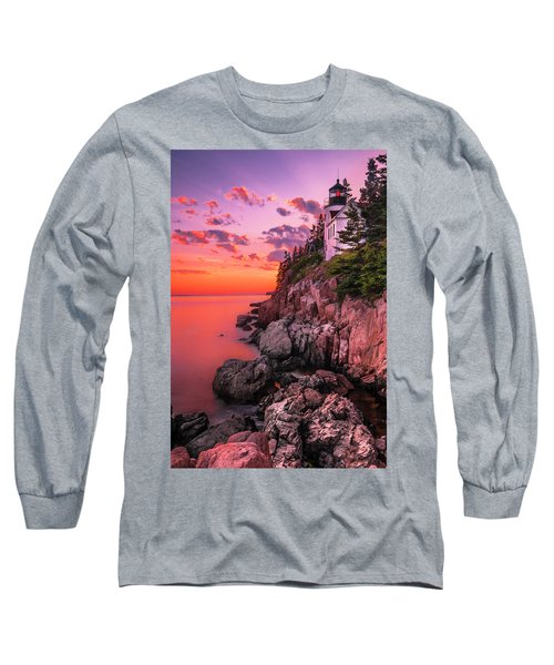 Long Sleeve T-Shirt featuring the photograph Maine Bass Harbor Lighthouse Sunset by Ranjay Mitra