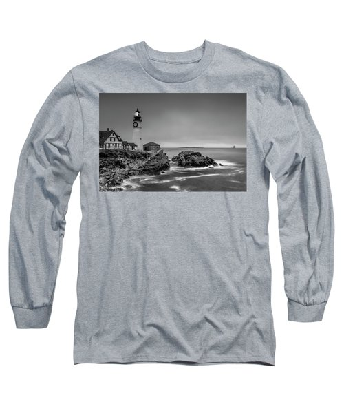 Long Sleeve T-Shirt featuring the photograph Maine Cape Elizabeth Lighthouse Aka Portland Headlight In Bw by Ranjay Mitra
