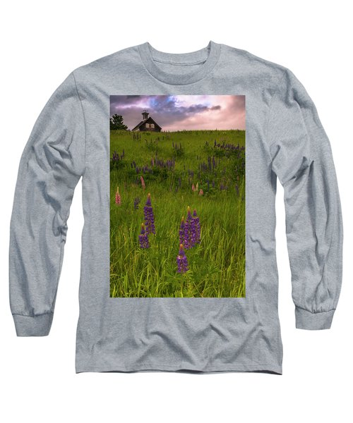 Maine Lupines And Home After Rain And Storm Long Sleeve T-Shirt by Ranjay Mitra