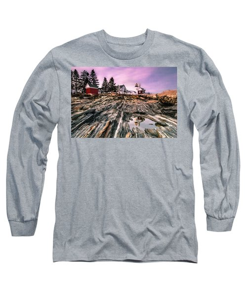 Maine Pemaquid Lighthouse Reflection In Summer Long Sleeve T-Shirt