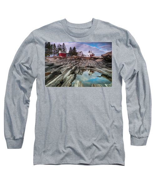 Maine Pemaquid Lighthouse Reflection Long Sleeve T-Shirt by Ranjay Mitra