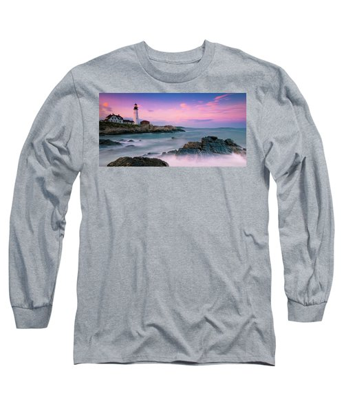Maine Portland Headlight Lighthouse At Sunset Panorama Long Sleeve T-Shirt by Ranjay Mitra