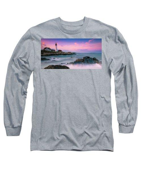 Maine Portland Headlight Lighthouse At Sunset Panorama Long Sleeve T-Shirt