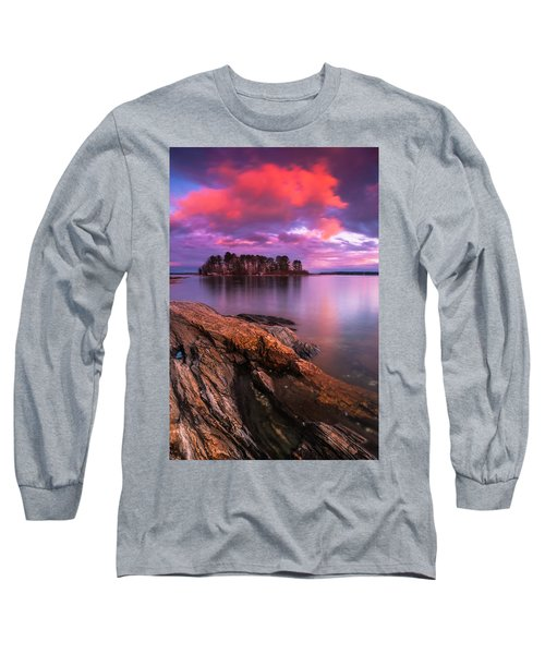 Maine Pound Of Tea Island Sunset At Freeport Long Sleeve T-Shirt by Ranjay Mitra
