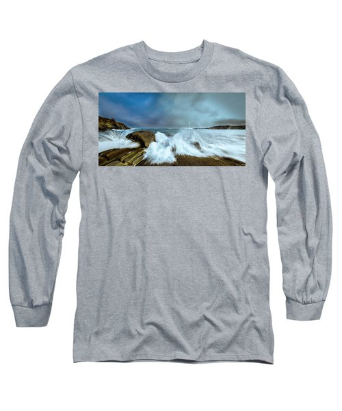 Maine Rocky Coast During Storm At Two Lights Long Sleeve T-Shirt by Ranjay Mitra