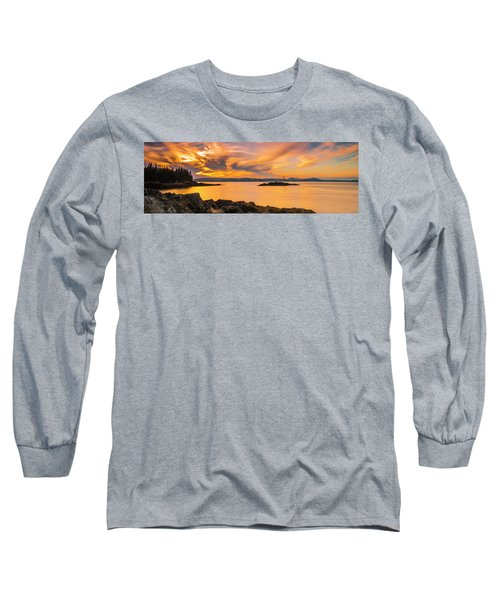 Maine Rocky Coastal Sunset In Penobscot Bay Panorama Long Sleeve T-Shirt by Ranjay Mitra