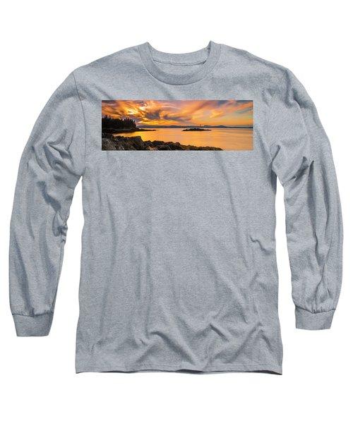 Maine Rocky Coastal Sunset In Penobscot Bay Panorama Long Sleeve T-Shirt