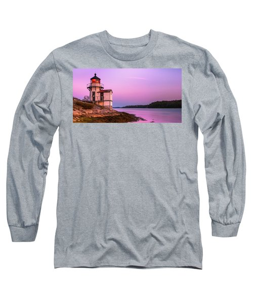 Maine Squirrel Point Lighthouse On Kennebec River Sunset Panorama Long Sleeve T-Shirt