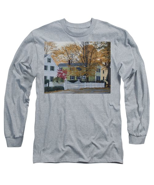 Autumn Day On Maine Street, Kennebunkport Long Sleeve T-Shirt by Barbara Barber