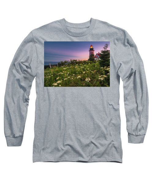 Long Sleeve T-Shirt featuring the photograph Maine West Quoddy Head Lighthouse Sunset by Ranjay Mitra