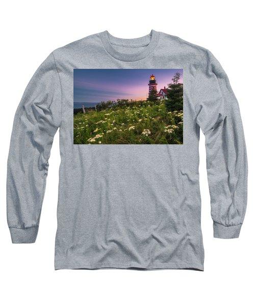 Maine West Quoddy Head Lighthouse Sunset Long Sleeve T-Shirt