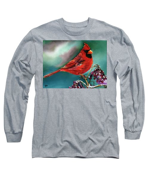 Male Cardinal And Snowy Cherries Long Sleeve T-Shirt