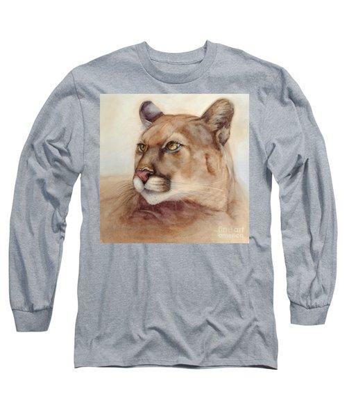 Male Cougar Long Sleeve T-Shirt by Bonnie Rinier
