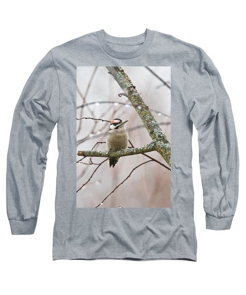 Male Downey Woodpecker Long Sleeve T-Shirt by Michael Peychich