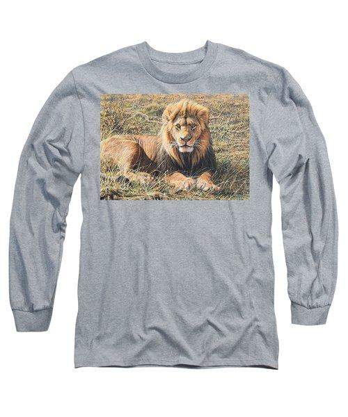 Male Lion Portrait Long Sleeve T-Shirt