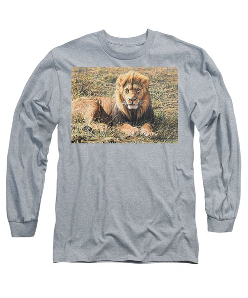 Male Lion Portrait Long Sleeve T-Shirt