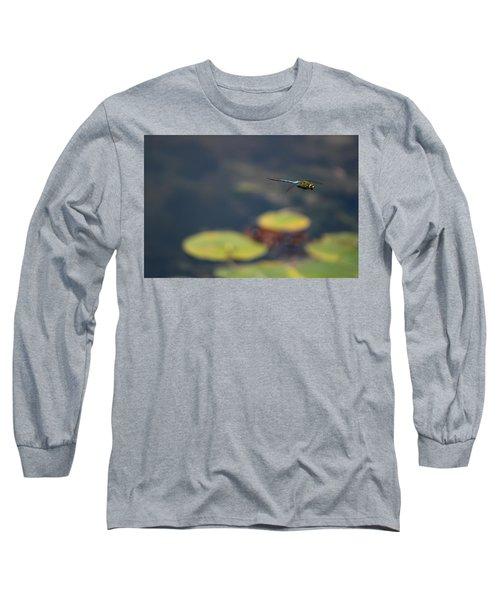 Malibu Blue Dragonfly Flying Over Lotus Pond Long Sleeve T-Shirt