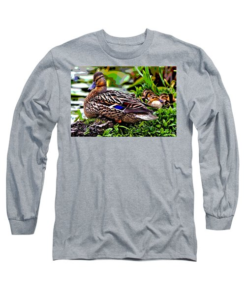 Long Sleeve T-Shirt featuring the mixed media Mallard And Chicks by Charles Shoup