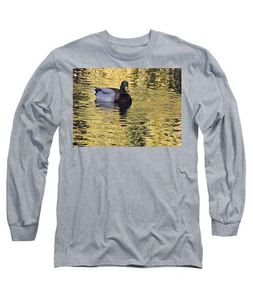 Mallard Drake On Gold Long Sleeve T-Shirt