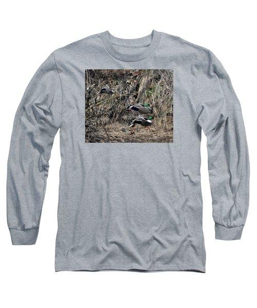 Long Sleeve T-Shirt featuring the photograph Mallard Ducks 1 by David Lester