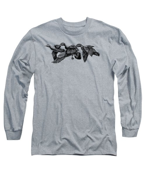 Mallard Ducks In Flight Bw Long Sleeve T-Shirt