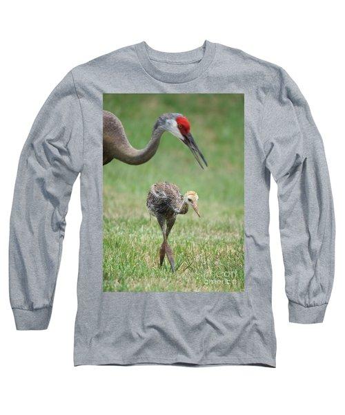 Mama And Juvenile Sandhill Crane Long Sleeve T-Shirt