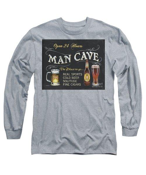 Man Cave Chalkboard Sign Long Sleeve T-Shirt by Debbie DeWitt