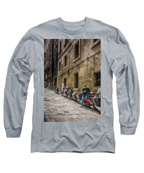 Man On A Scooter Siena-style Long Sleeve T-Shirt
