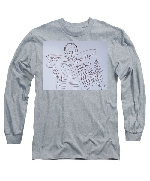 Man Reading A Newspaper Cartoon - What Is The World Coming To Long Sleeve T-Shirt